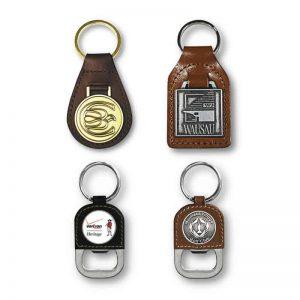 Llaveros personalizados de cuero y metal