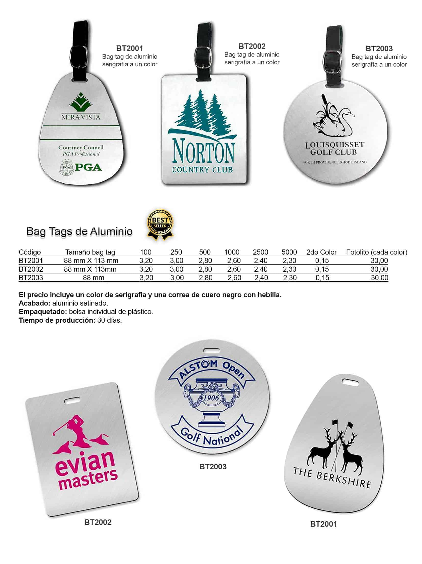 Bag tags de aluminio personalizados