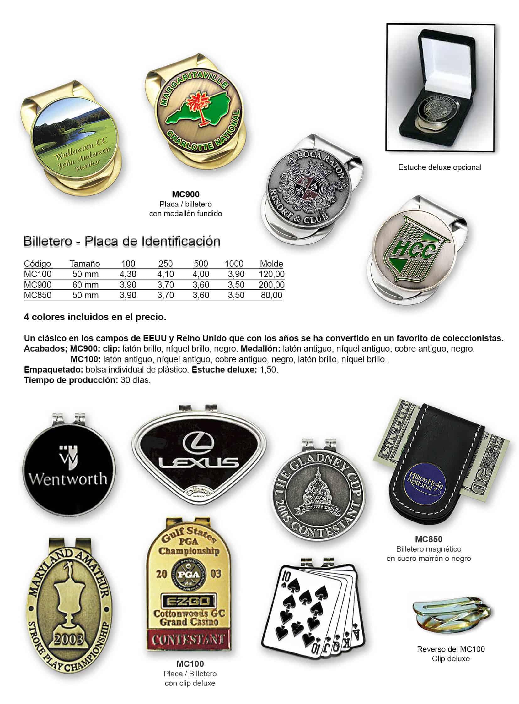 Billeteros y placas de identificación personalizados para golf