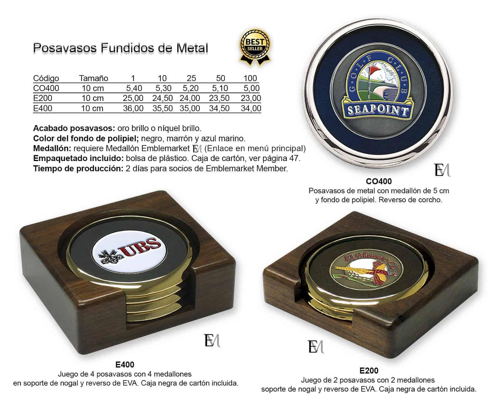 Posavasos de metal y polipiel personalizados